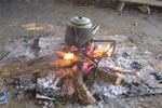 Traditional kettle cooking over an open fire